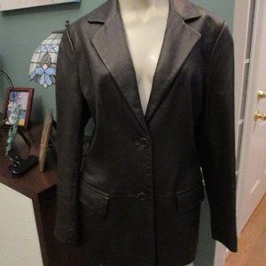 Lord & Taylor Dark Brown Leather Blazer Medium